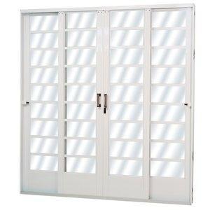 Porta de Correr Aço 4 Folhas com Vidro Mini Boreal Minas Sul MGM 215cmx200cm Branco