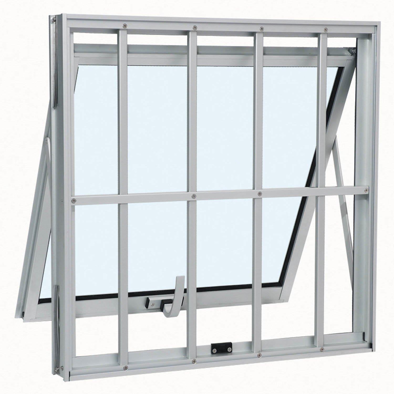 #596A72 Janela Maxim ar Sasazaki Alumínio Duplo Vertical Com Grade R$ 651  4414 Janela Aluminio Maxim Ar Serie 25