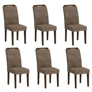 Conjunto 6 Cadeiras Athenas Rufato Castor/ Animale Chocolate