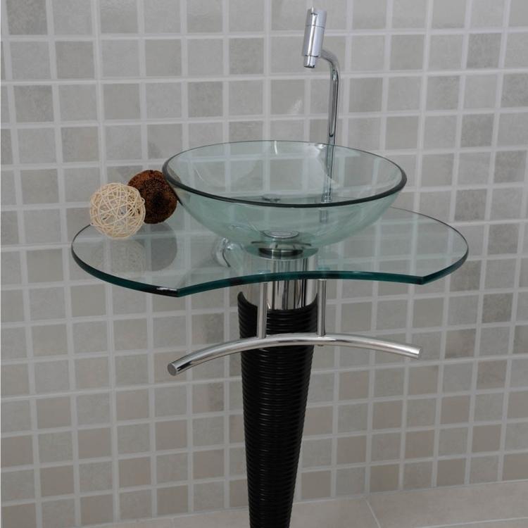 Gabinete para Banheiro de Vidro Persona Beethoven 72cm x 46cm x 72cm Vidro em -> Gabinete De Banheiro Tampo De Vidro