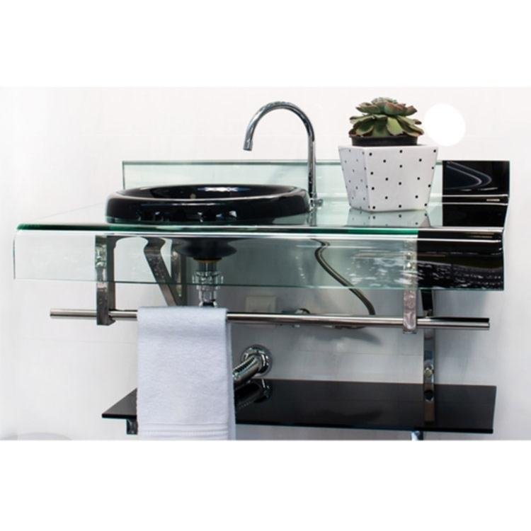 Gabinete para Banheiro de Vidro Astra Chopin Persona sem Sifão 90cm x 56cm x  -> Gabinete De Banheiro Astra