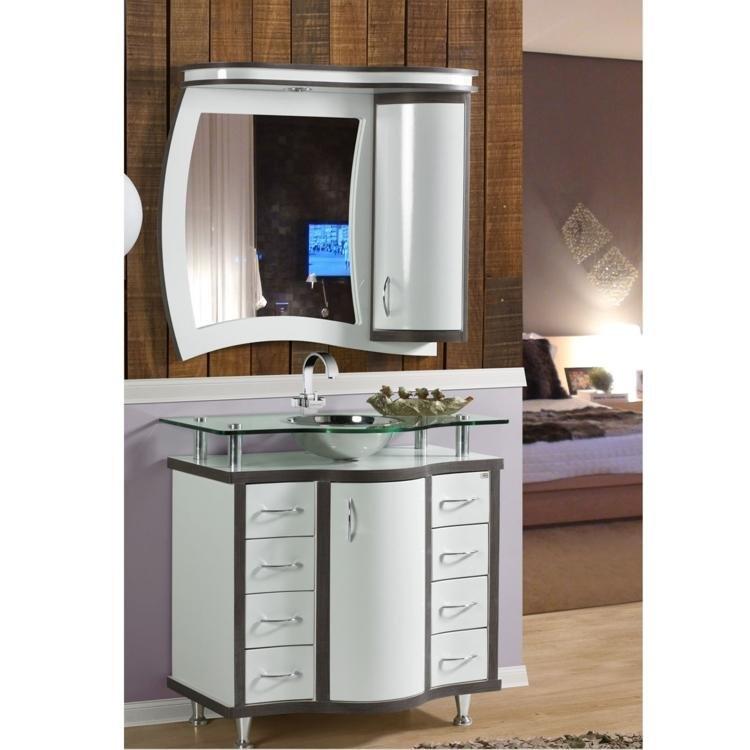 Conjunto para Banheiro com Espelheira, Cuba e Balcão com Tampo em Vidro Trex  # Cuba Para Banheiro Com Balcao