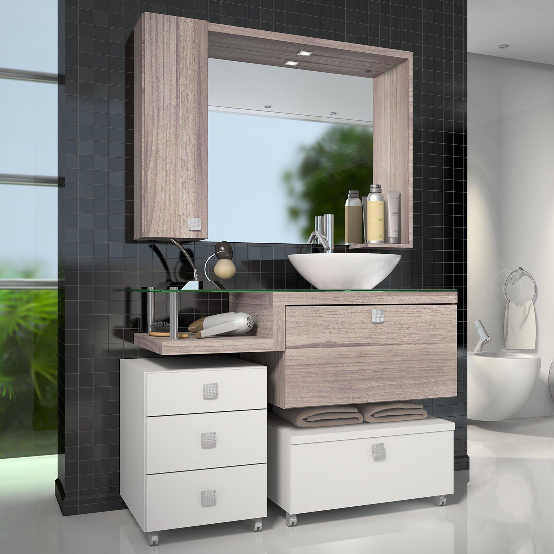 Para Banheiro Com Espelheira Vicenza Celta Móveis R$ 1.744 90 em  #616F3D 1500 1500
