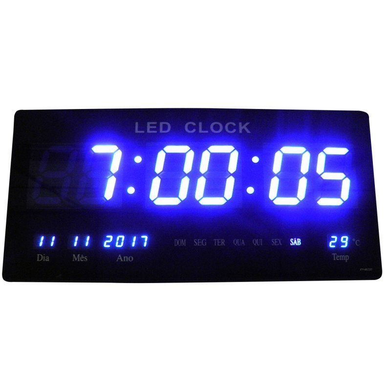 c06c1913101 Relógio De Parede De Led Azul Digital Alarme Data Temperatura ...