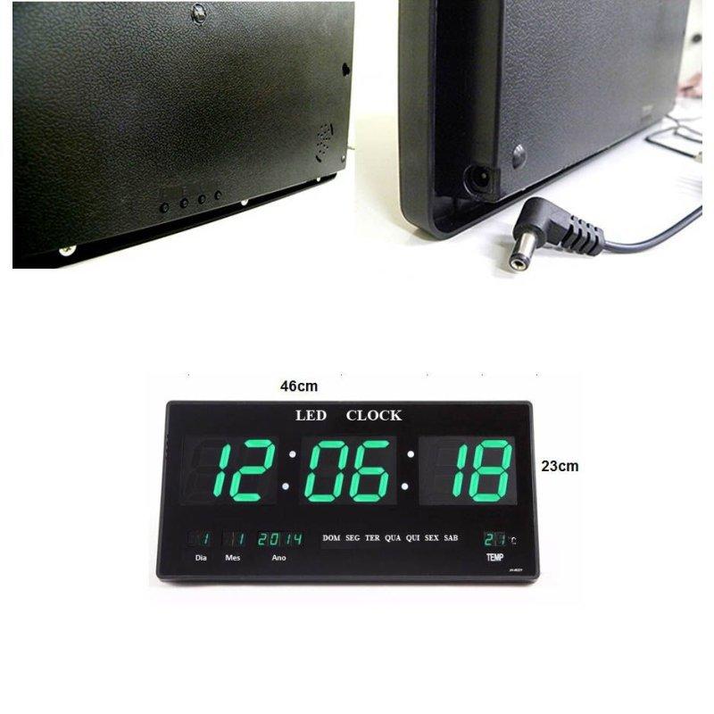 cf96f8714eb Relógio De Parede De Led Verde Digital Alarme Data Temperatura ...