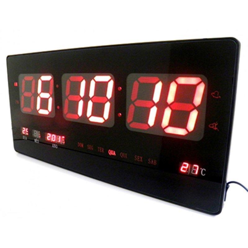 d7897286724 Relógio De Parede Digital De Led Com Alarme Data Temperatura ...