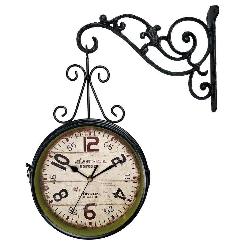 1957a3a8511 Relógio de Parede Face Dupla Retrô Vintage Estilo Estação De Trem de London  1894 - Decoração