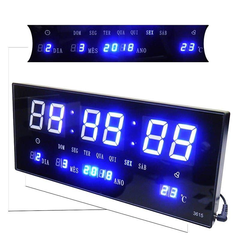 983e7b31f15 Relógio De Parede Led Alarme Data Termo Azul Digital - MadeiraMadeira
