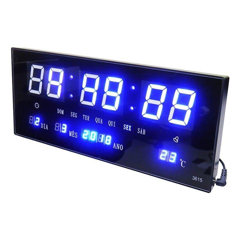 1f80d403304 Relógio De Parede Led Alarme Data Termo Azul Digital - MadeiraMadeira