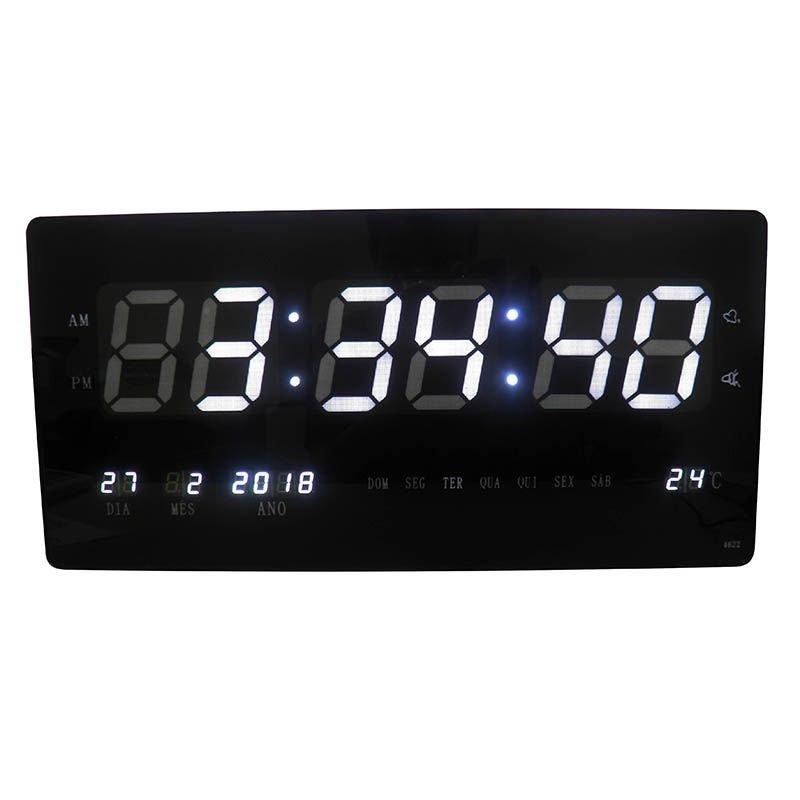 881794423f4 Relógio De Parede Led Grande Branco Digital Alarme Data - MadeiraMadeira
