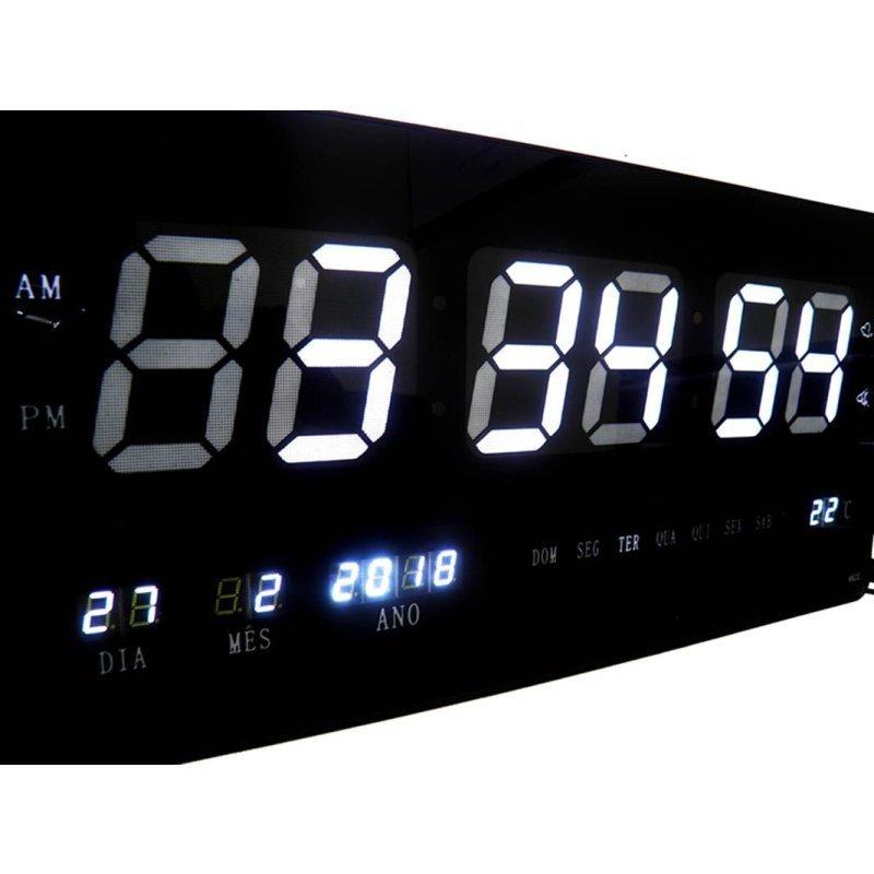 85f11d08ef7 Relógio De Parede Led Grande Branco Digital Alarme Data - MadeiraMadeira