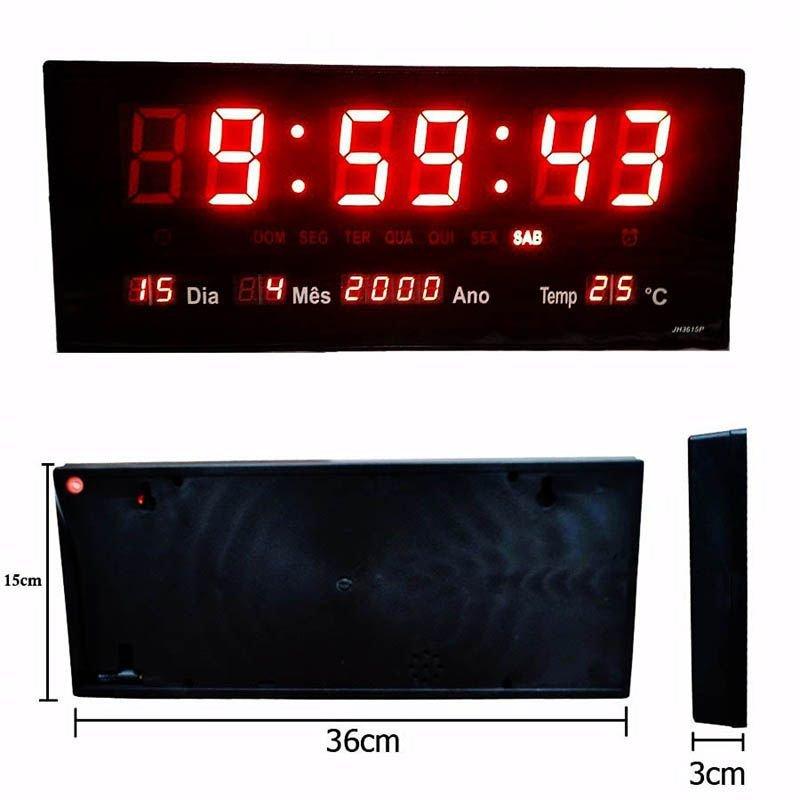3d3b93e4221 Relógio De Parede Led Vermelho Digital Alarme Data Termômetro ...