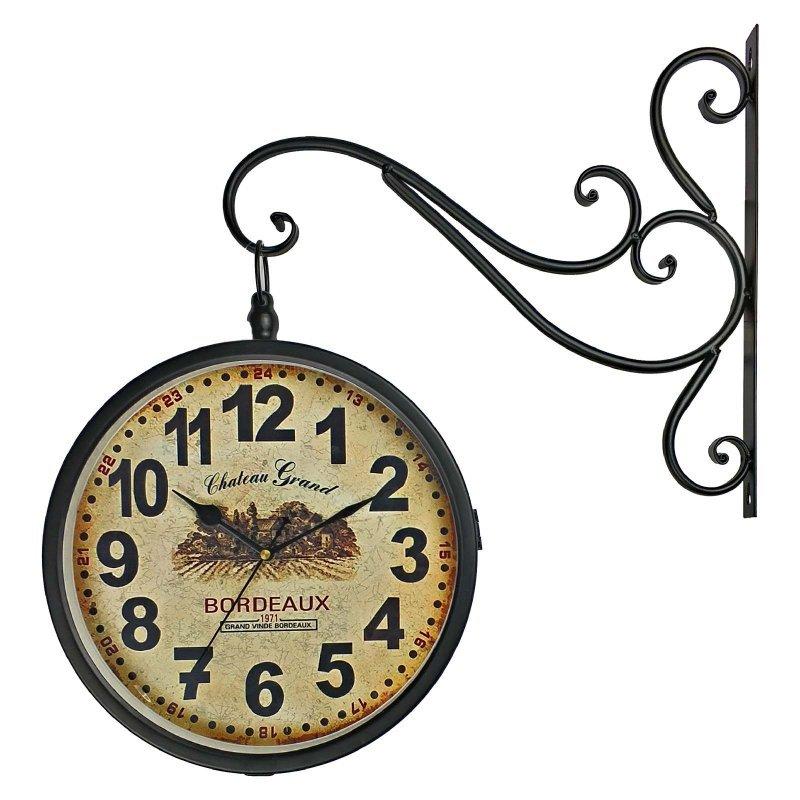 01bbeb42244 Relógio de Parede Face Dupla Retrô Vintage Estilo Estação De Trem de ...