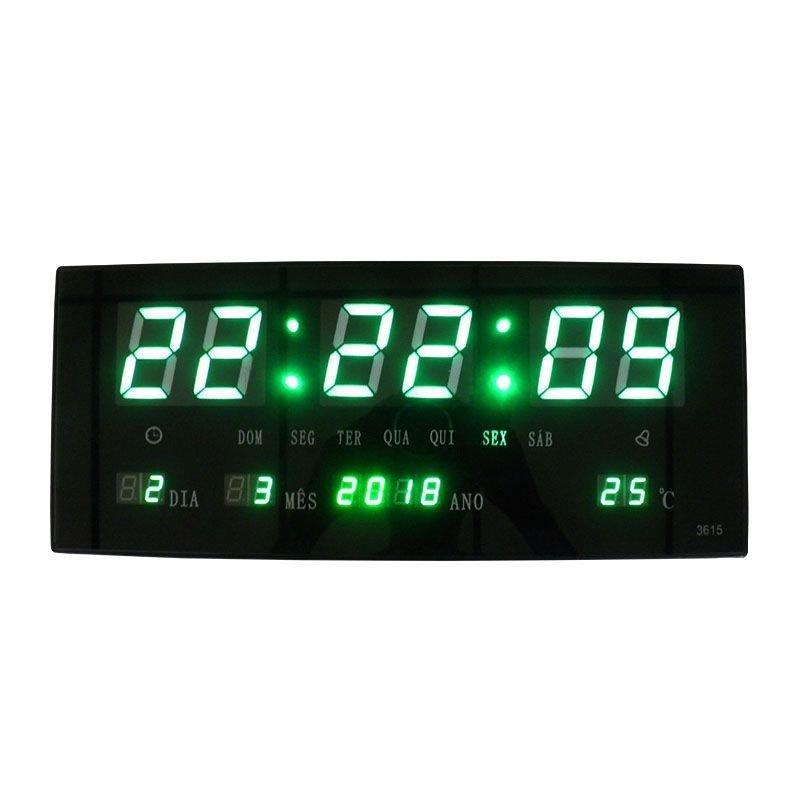de253323d7c Relogio Digital de Parede Alarme Led Verde Termo Data (BSL-REL-58 ...