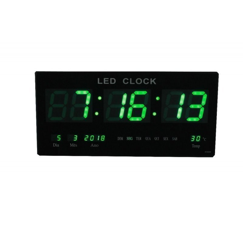 c383a3f3a77 Relógio Digital De Parede Com Alarme Led Verde Termo Data ...