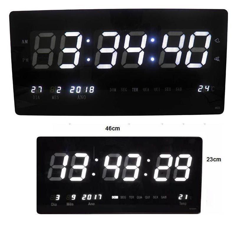 a34057d4836 Relógio Digital Parede Grande Com Led Branco Alarme Hora Data